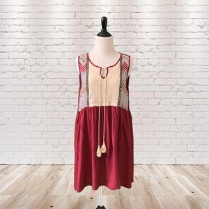 Umgee Hippy BabyDoll Tunic Large Red Floral Lace